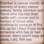 """October"" is not Cancer month, every fucking month is."
